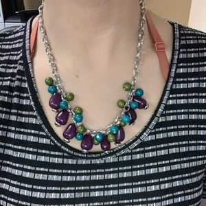 Necklace with Purple, blue and green stones
